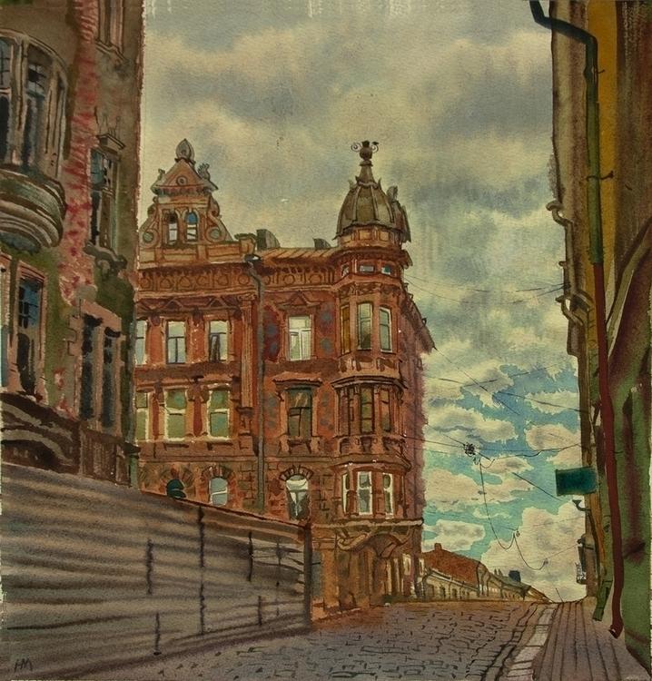 Vyborg - watercolor, watercolour - naktisart | ello