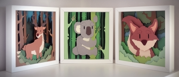 Forest triptych - illustration, papercut - vaclavbicha | ello