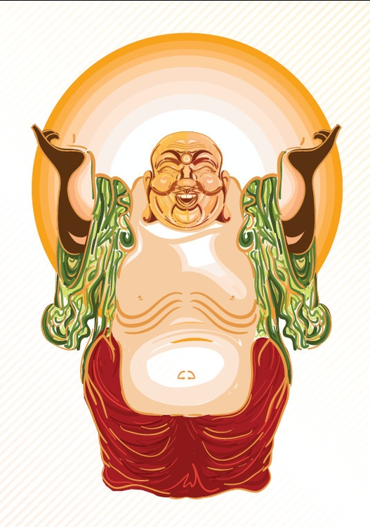 Laughing Buddha - buddha, illustration - akash-1439 | ello