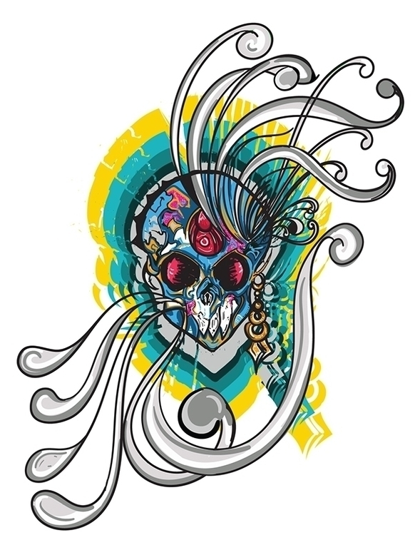 Skulled - skull, skulls, illustration - akash-1439 | ello