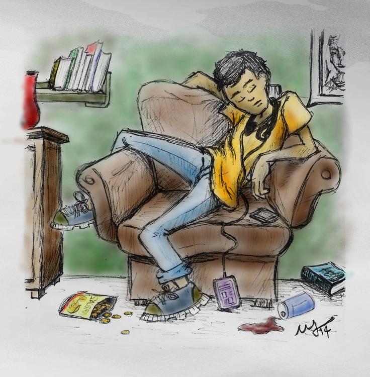Dormindo - sleeping - illustration - walbersantos | ello