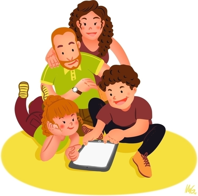 iFamily - illustration, family, tablet - margom | ello