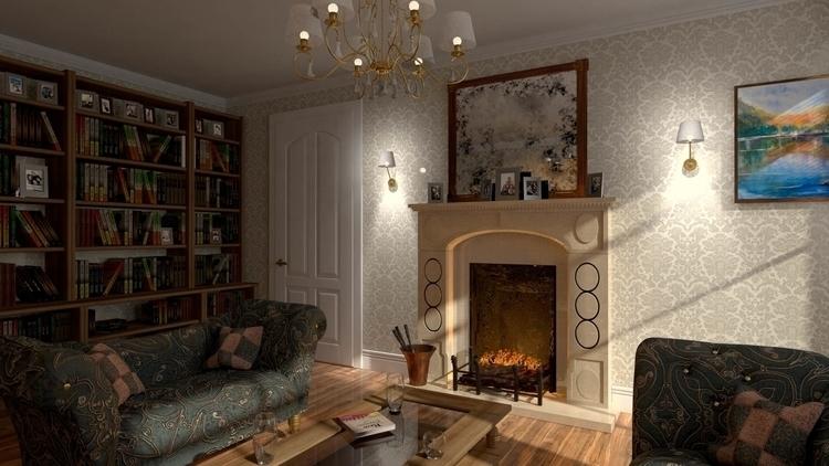 Living room render - 3dart, 3dmodel - malcolmcross | ello