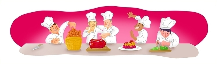 Team Building Cooking - illustration - margom | ello