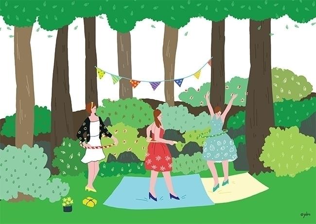 hula hoop - illustration, painting - yebin | ello