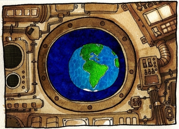 Earth View - watercolor, watercolour - upstartthunder | ello
