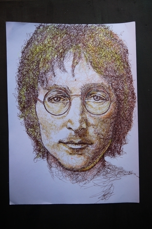 Lennon - lennon, portrait, pen, drawing - el_compy | ello
