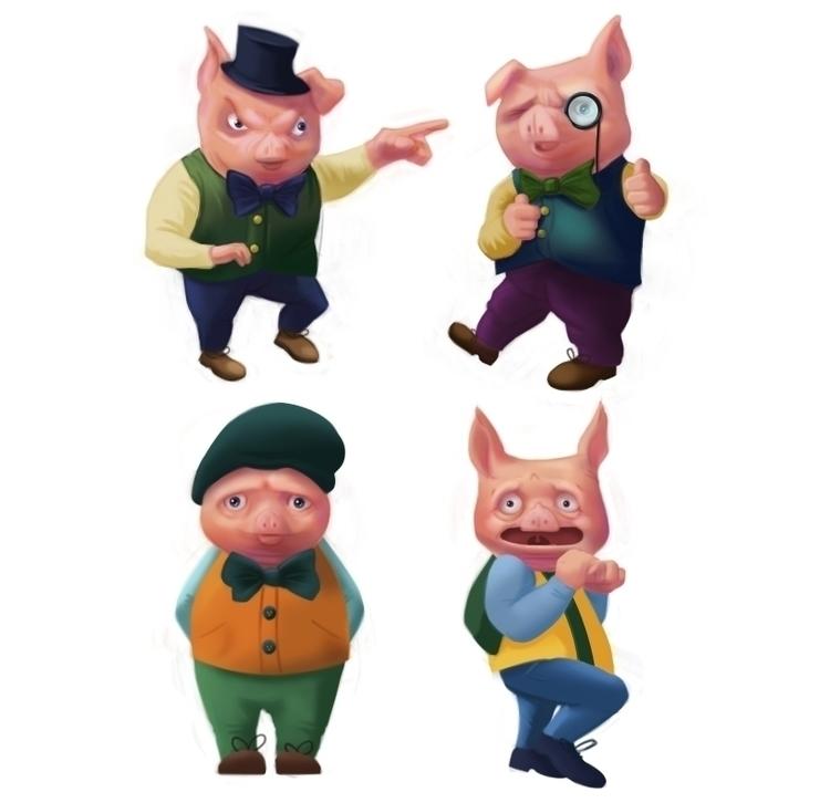 Piggies - pig, digitalpainting, photoshop - meghan-1228   ello