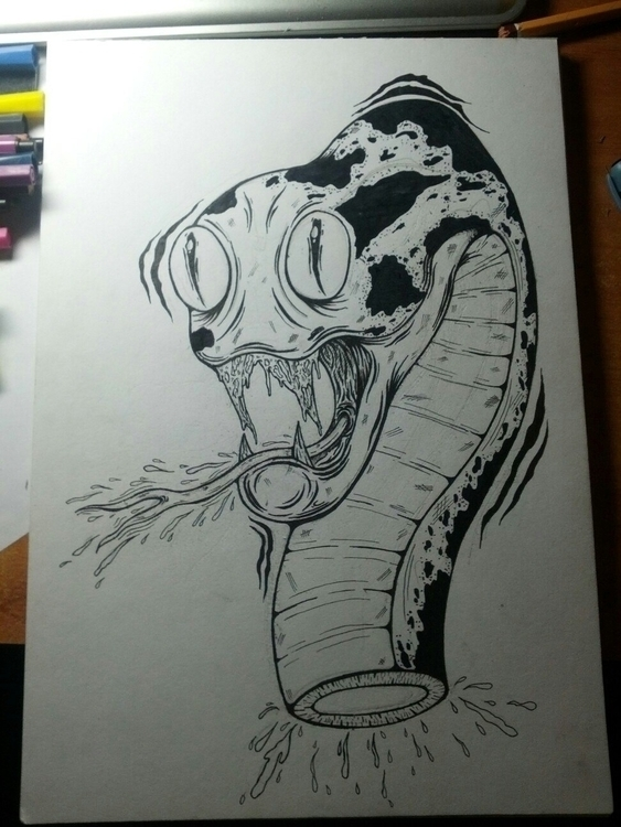 Snake - art, drawing, draw, paper - w8id | ello
