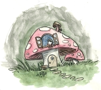 Mushroom House - illustration, watercolor - serenedaoud | ello