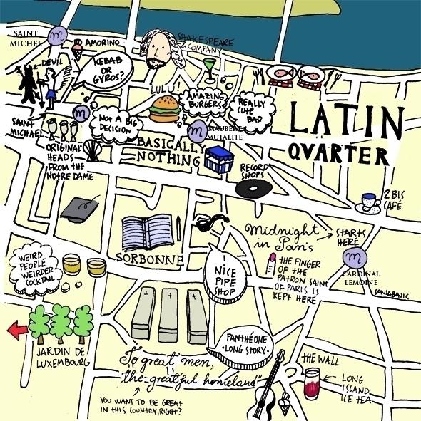 Map Latin Quarter, Paris - map, maps - sonjabajic | ello