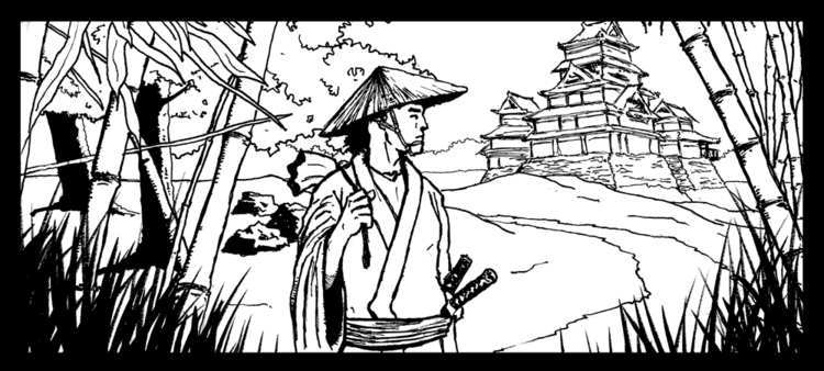 Samurai - illustration, penink - lostronin | ello