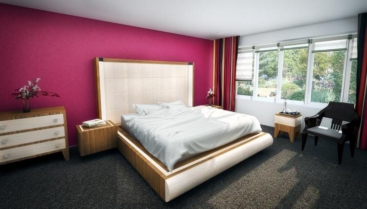 Hotel - 3d, #hotel, pink, bed, modern - arylaszlo | ello