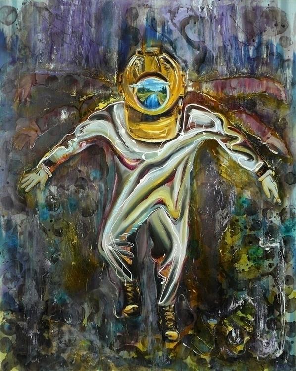 diver,oil,varnish canvas, 200x1 - lyube | ello
