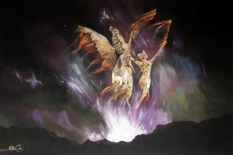 Pegasus Rising - painting - elasticcanvas   ello