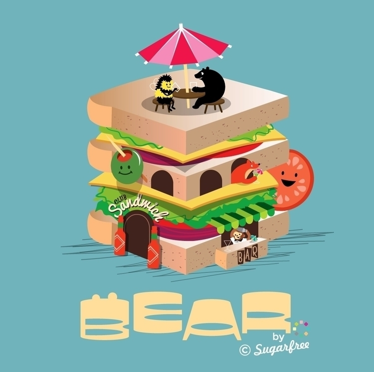 Bear friends hang Club Sandwich - simonewhite-1036 | ello
