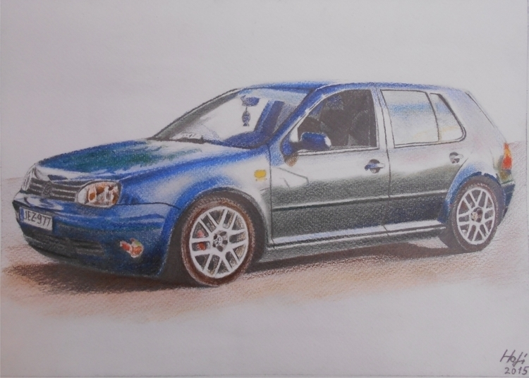 GOLF, aquarell - drawing, car - spiritfc | ello