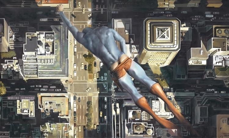 """Flying"" Oil canvas – print - superhero - andreasenglund-4144 | ello"