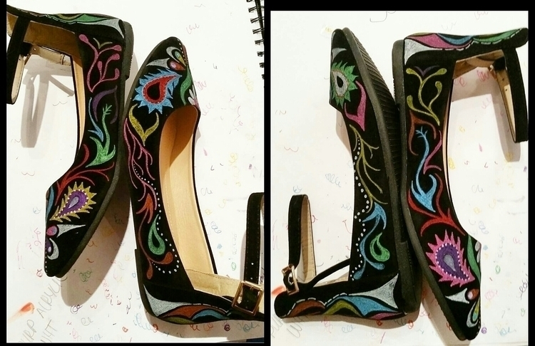 shoes, flats, handpainted, anklestrap - marysheaffer | ello