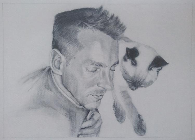 portrait, pencil - drawing, cat - spiritfc | ello
