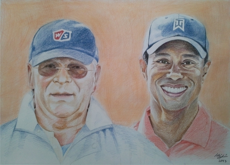 portrait, aquarell - drawing, tigerwoods - spiritfc | ello