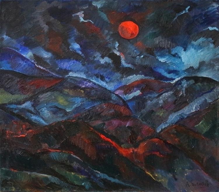 Red Moon, 100/100, Oil / canvas - antonbogatov | ello