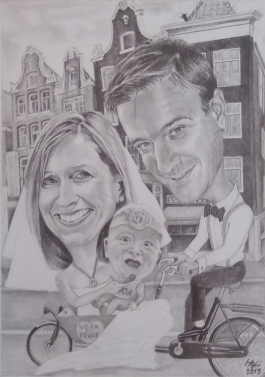 caricature, pencil - drawing, amsterdam - spiritfc | ello