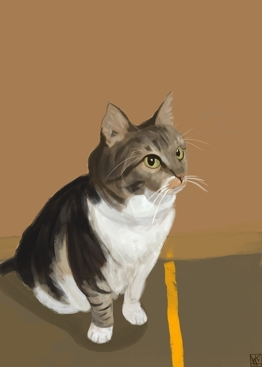 Cat - illustration, painting, drawing - mkodaz | ello