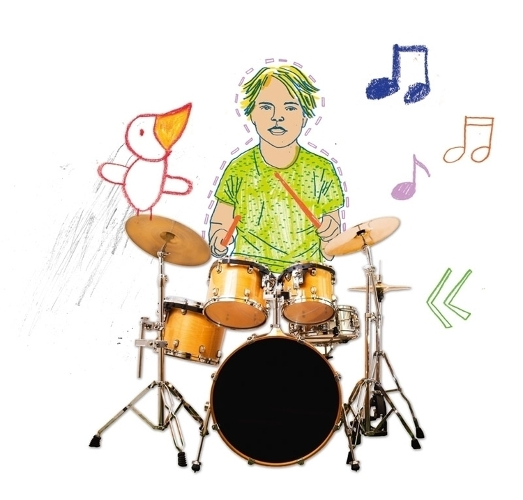 , pencil,drawing,collage,children,animals,people,child,music,illustration - koopi | ello