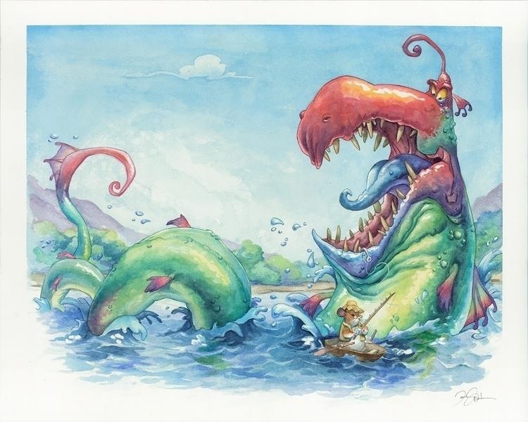 Fishing - Caran watercolor penc - dannybeckart | ello