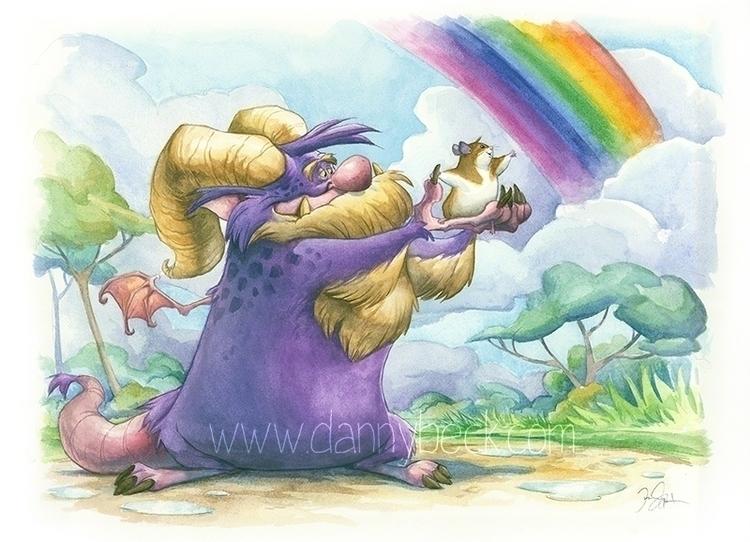 Touch Rainbow - Caran watercolo - dannybeckart | ello