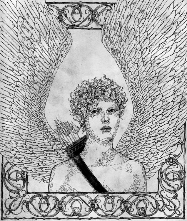 Cupidon pen ink board - angel, penandink - anastasiyat | ello