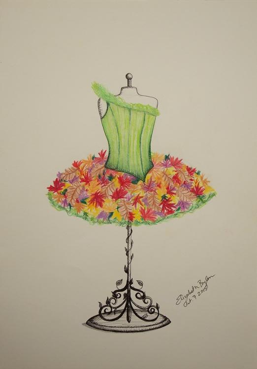 Autumn Maple Leaf Tutu Design - illustration - elizabethboylan | ello