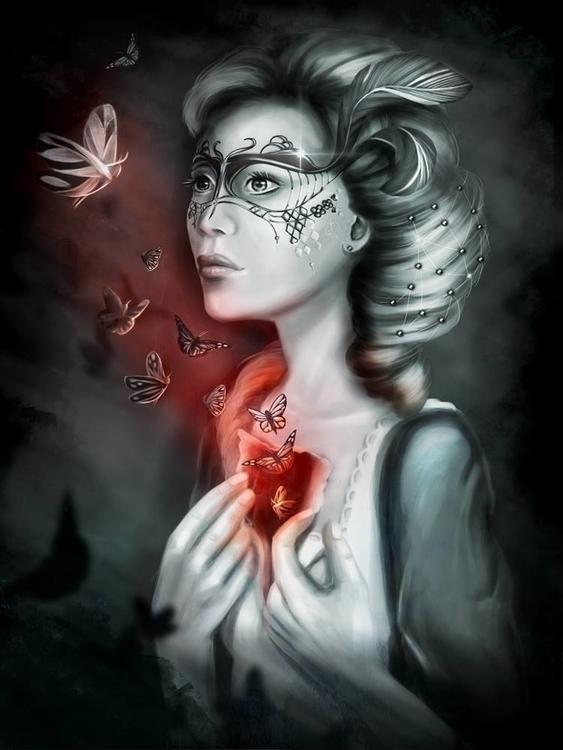 Masquerade - illustration, painting - cherrygraphics | ello