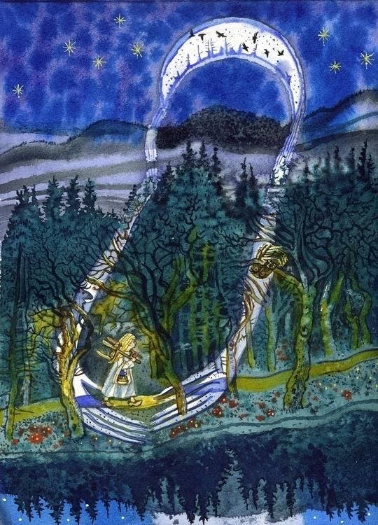 2 Ravens fairytale Grimm Brothe - naktisart | ello