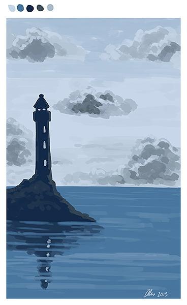 speedpainting, lighthouse, sea - alexandrasketch   ello