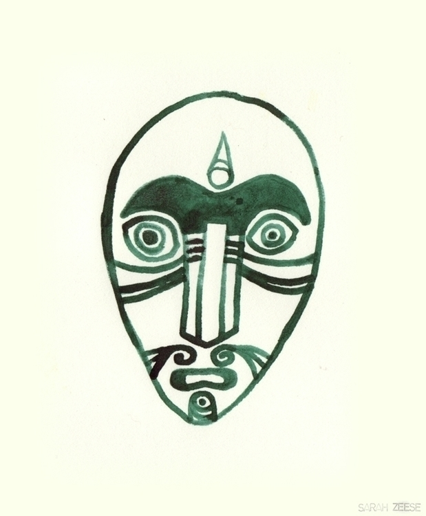 maori, mask, character, drawing - sarahzeese | ello