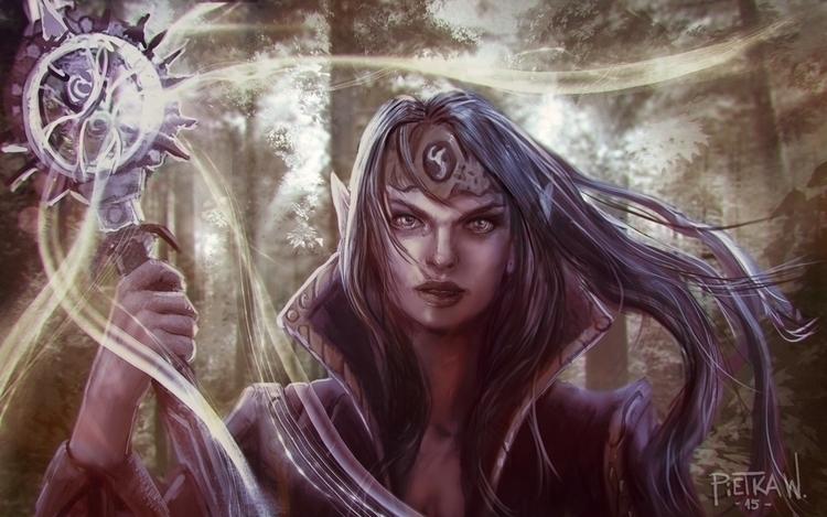 Wood Elf - illustration, painting - pietkaw | ello