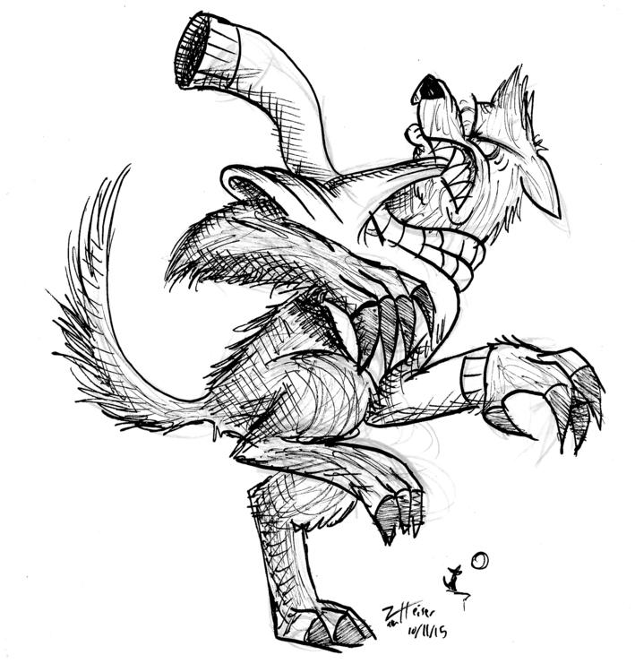 Werewolf pulling sweater - werewolf - heiserz | ello