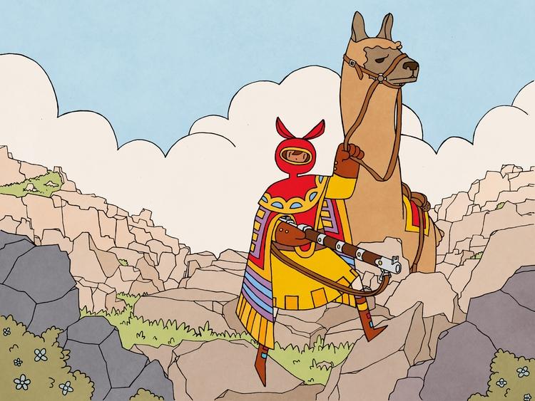 Giant llama rider. Based Illust - magicalseaside | ello