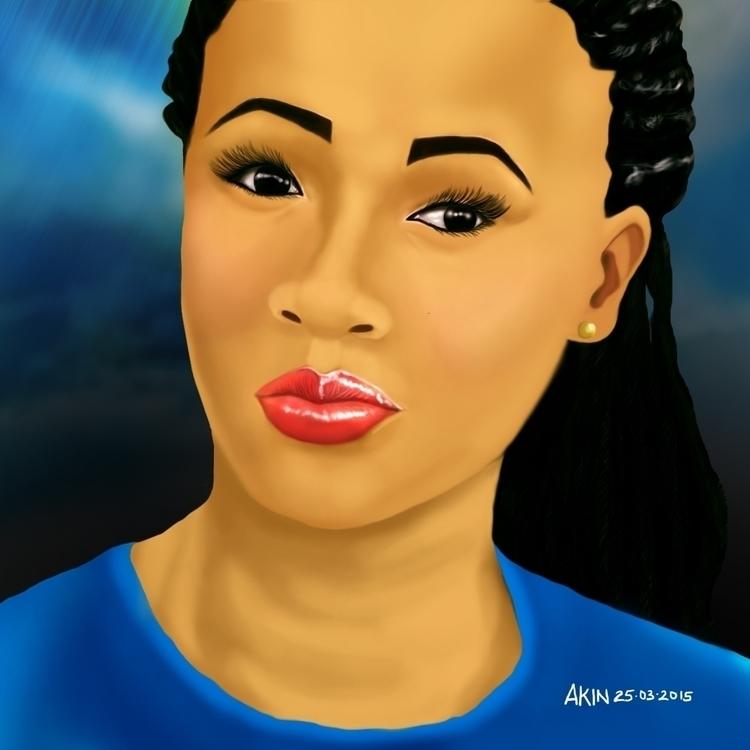 Portrait good friend, Chi-Chi - painting - akinwandeayodeji | ello