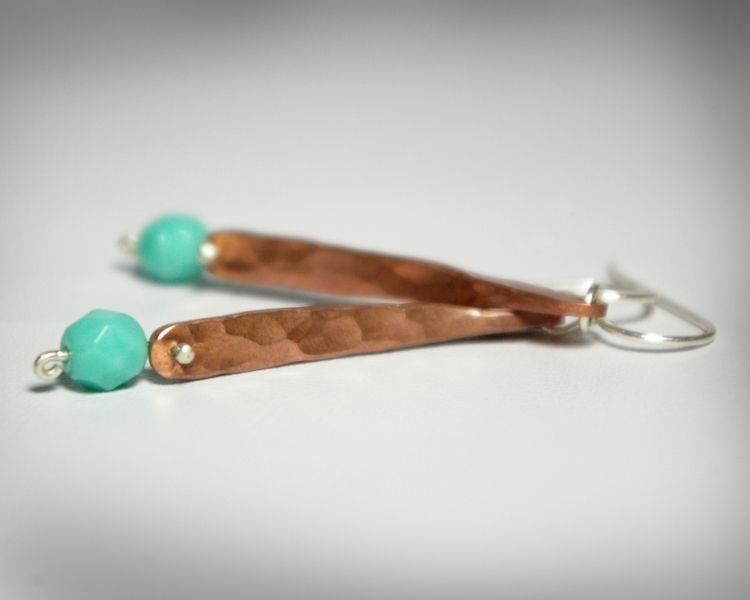 Hammer Textured Copper Earrings - tessbulman | ello