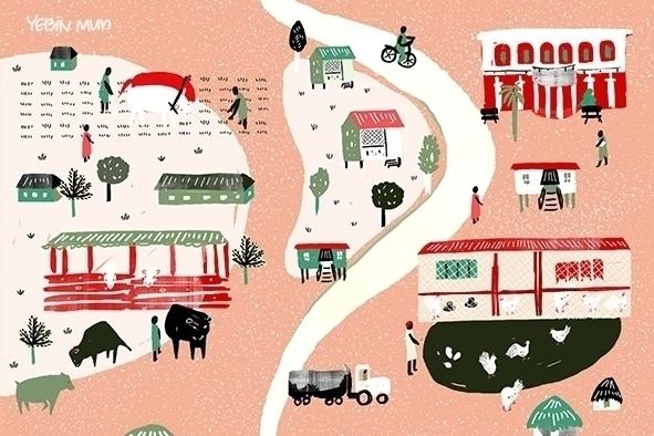 World 3 anniversary card - illustration - yebin | ello
