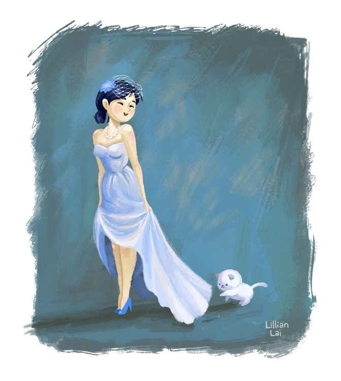 Blushing blue bride - bride,somethingblue - lillisketch | ello