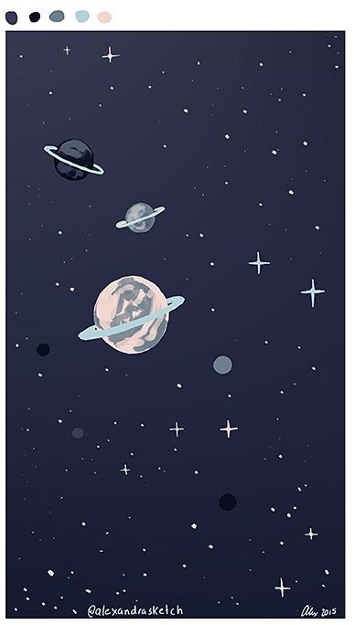 planets, space, stars, speedpainting - alexandrasketch | ello