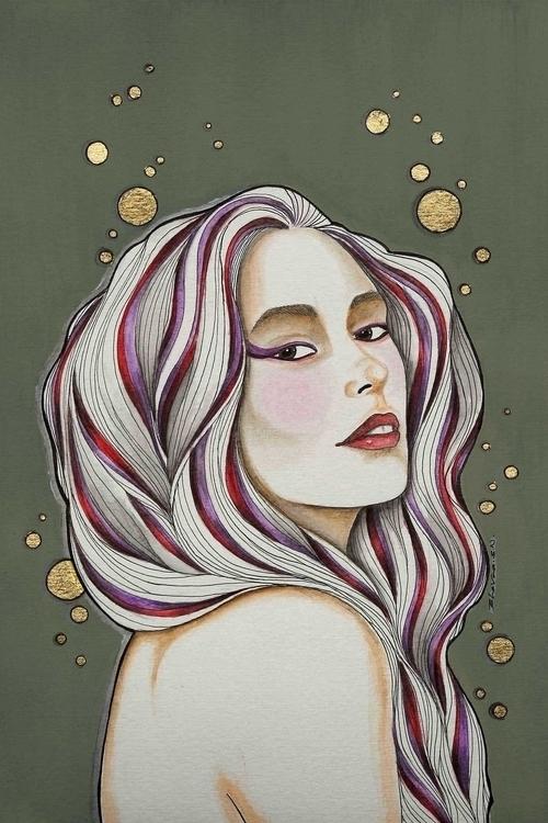Violet Gaze - illustration, painting - bhavanasn | ello