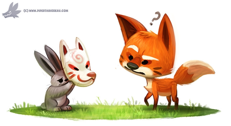 Daily Paint Kitsune Mask - 1092. - piperthibodeau | ello