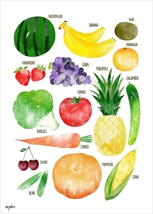 fruit vegetable chart - illustration - yebin | ello