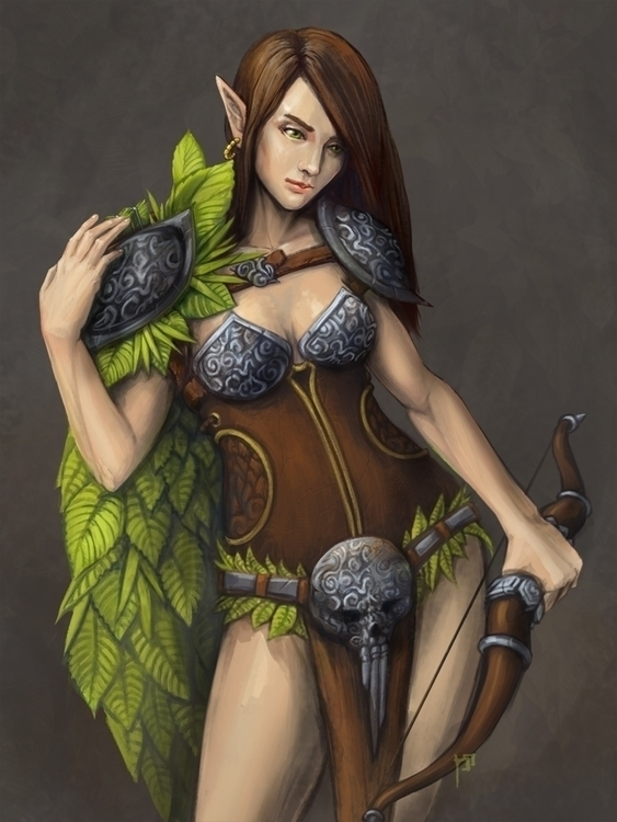 Leaves - elf, female, warrior, archer - tieller | ello