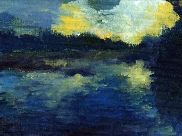 Sunset water - illustration, painting - vshek | ello